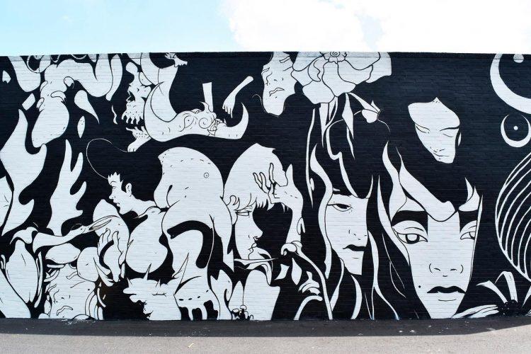 jesus benitez mural negro y blanco