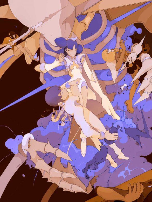 jesus benitez ilustracion esqueleto luchando