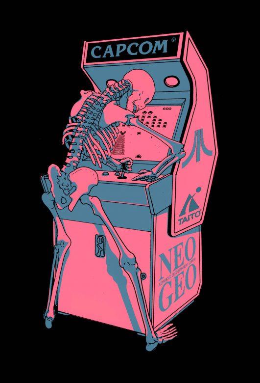 jesus benitez esqueleto jugando con arcade