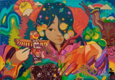 Mural niña india Eva Bracamontes
