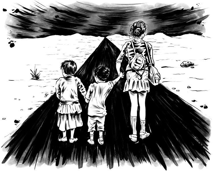 3 kids on road looking to horizon