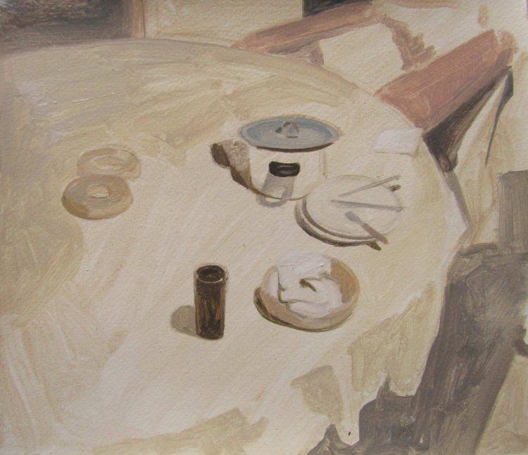 mesa con donas y taza pintura